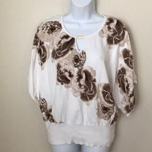 New York and Company White Floral Top Sz XL